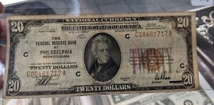 SERIES 1929 US $20 NATIONAL CURRENCY BROWN SEAL NOTE~FED BANK OF PHILADELPHIA PA