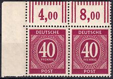 929 OR W (40 Pfg. Ziffern), Eckrand-Paar, postfrisch