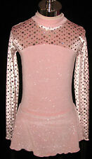 Pink with Silver Competition Ice Figure Skating Dress Girls X - Small 5 / 6 / 6X
