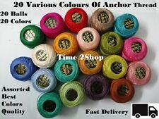 20 Anchor Pearl Ganchillo de Algodón Bolas, 85m Cada Bordado Multicolor Hilo