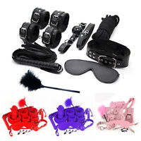 10Pcs Under Bed Bondage Set Collar Whip Cuffs Rope Restraint System Kit BDSM Toy