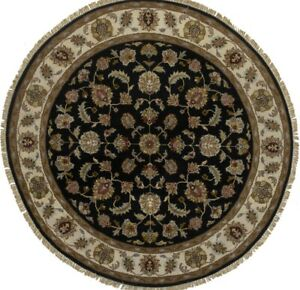 Black Classic Floral Style Oriental Round Rug 6X6 Hand-Knotted Home Decor Carpet