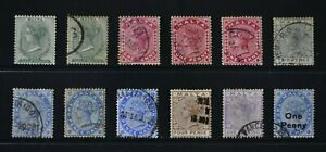 MALTA, QV, 1885 / 1902, a collection of 12 stamps to 1s. value, used, Cat £28.