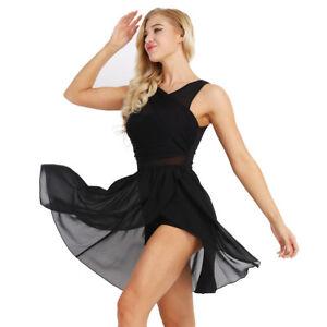 UK Women Sequins Asymmetric Lyrical Dance Dress Latin Ballet Skirt Leotards