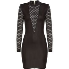 BALMAIN Sheer-paneled Stretch-knit Black Mini Dress size FR38/ UK10 STUNNING