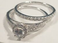 Sterling Silver Engagement Style with 0.75ctw Diamonique Set of 2 Rings Size 7.5