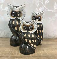 Wood Carving Archipelago Double Little Owl Block D363 Two Little Owls Post Ebay