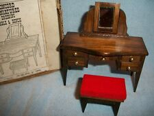 Concord Miniatures Doll House Furniture Dressing Table & Bench Bedroom Vintage
