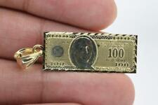 """Solid Real 10K Yellow Gold 1.5"""" Mini $100 One Hundred Dollar Stamped Money Charm"""