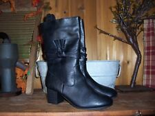 FADED GLORY GIRLS DRESS BOOTS SIZE 3 BLACK ZIPPER SIDE FRINGES KIDS CASUAL SHOES