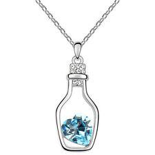 Hot Women Crystal Rhinestone Love Heart Drift Bottle Pendant Necklace Chain Gift