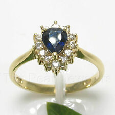 14k Yellow Gold Genuine Diamonds, Natural Blue Pear Sapphire Solitaire Ring TPJ