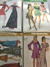 Lot 4 Vintage Sewing Patterns 1970s Misses Mini + Maxi-Dresses,