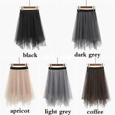 2018 Womens Mesh Asymmetric High Waist Skirt Tulle Tutu Ball Sheer A-lined Dress