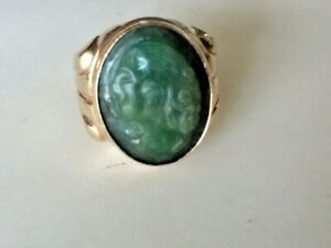 Antique Vintage Handsome Men's 10K Solid Yellow Gold Green Jade Cocktail Ring