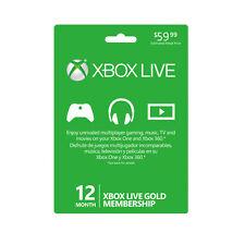 Microsoft Xbox 360 Live Gold 12 Month Membership Card (DIGITAL)
