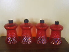 Ruby Red Glass Candle Sconce Votive Cups Diamond Pattern Set of 4