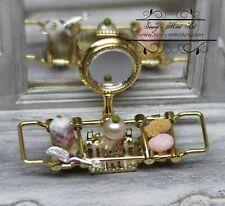 1:12 Dollhouse Miniature Brass Bathtub Rack with Mirror RP 1.673/6
