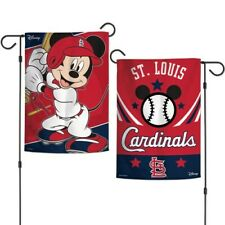 "New Disney Mickey Mouse St. Louis Cardinals  MLB 2 Sided 12.5 X 18"" Garden Flag"
