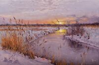 SUNRISE landscape by Alexander VOLYA, Original oil RUSSIAN Painting