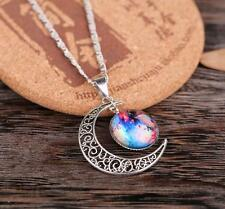 Women Galactic Glass Cabochon Pendant Silver-tone Crescent Moon Necklace CA-6
