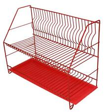 RED 2 Tier Dish Drainer Plate Cutlery Rack Kitchen Drainer Holder Drip Tray