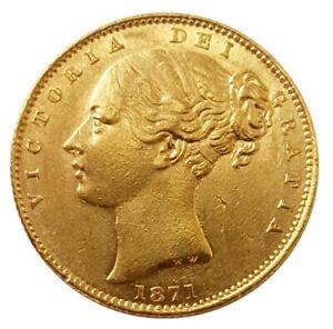 1871-S Queen Victoria Shield Reverse Sovereign - SYDNEY / INCUSE WW