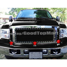 For 2005 2006 2007 Ford F250 F350 F450 3PC Grille REPLACEMENT Black Mesh Rivets