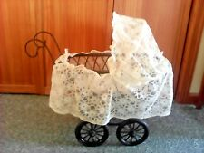 Antique Black Wooden Baby Doll Carriage With Lace Canvas
