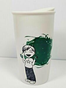 Starbucks Green Hands Painting Ceramic Insulated Coffee Mug Tumbler 12oz 2015