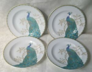 """222 Fifth Peacock Garden China Salad Plates 6 1/2"""" Teal Blue, Green  Set of 4"""