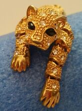 "Estate Vintage Rhinestone articulated Jointed Leopard Jaguar Brooch Pin 8"" Heavy"