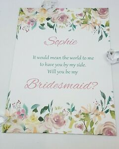 Will You Be My Bridesmaid Cards Personalised COMPLETE with Envelope