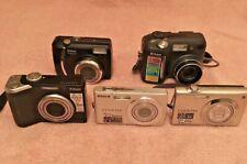 Lot of 5 WORKING Nikon Coolpix Digital Cameras - S4000, S200, P60, 885, L1