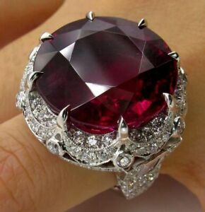 9Ct Round Cut Ruby Synt Diamond Art Deco Statement Ring White Gold Finish Silver