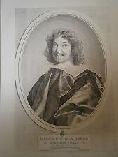 Planche gravure Louis XIV assis prés de sa mére reçoit le prévot  Claude Mellan