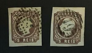 PORTUGAL superb duo of 1862 King Luis 5r. brown imperfs CV £60+