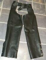 Slightly Used Leather Diamond Black Leather Unisex Motorcycle Chaps Size Medium
