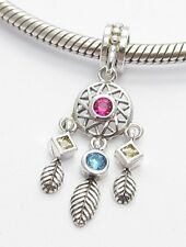 DREAM CATCHER FEATHER CHARM BEAD Sterling Silver.925 4 European Bracelet 480