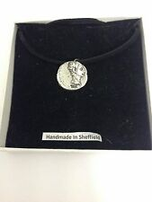 Augustus WE-C2 Roman Coin Motif Pewter  PENDENT ON A  BLACK CORD  Necklace