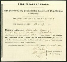 More details for marke valley consolidated copper & tin mining co., £10 share, 1842