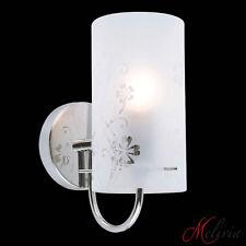 Aplique de pared lámpara pie cristal patrón flores Cromado Blanco E27