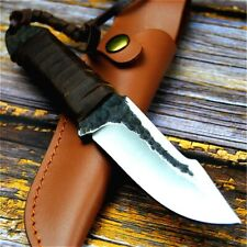 Survival Fixed Blade Hunting Knife Skin Strappy Leather Handle Forged Steel Tool