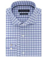 NEW TOMMY HILFIGER BLUE CHECKERED THFLEX SUPIMA REGULAR FIT DRESS SHIRT