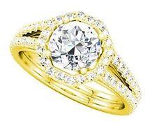 2.20 ct total Round Diamond Halo Wedding 14k Yellow Gold Ring 1.5 ct center SI1