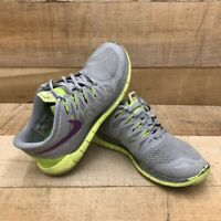 Nike Womens Free 5.0 Running Shoes Gray Green 642199-005 Low Top Lace Up Mesh 8