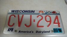 1989 Wisconsin license plate