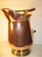 """Copper Pitcher 15 1/2"""" Tall Hand Wrought with Ceramic Handles"""