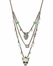 Betsey Johnson Pet Shop Vintage Multi Skull Necklace and Matching Earrings! NWT!