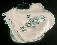 NEW Baby Girl Bibs LAURA ASHLEY Set of 3 PINK Gray Ruffle Flower NWT 100% Cotton
